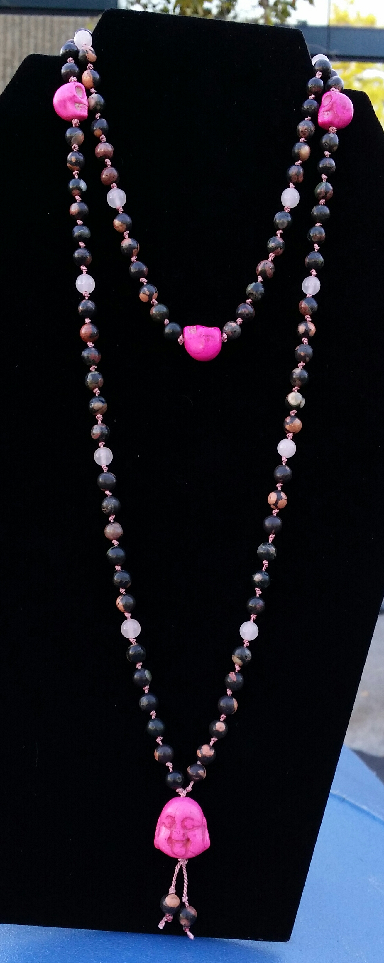 $40.00 Plus Shipping 6mm Red Spot Jasper and Rose Quartz beads. Each Mala is strung on natural silk bead cord, and hand knotted.